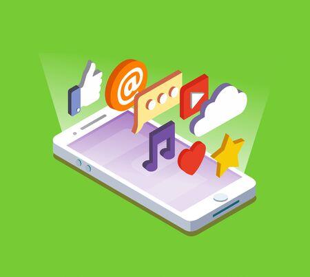 smartphone icon: Smartphone with Apps. Vector flat isometric style.