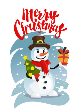 alphabet tree: Happy Snowman in red scarf with gift and christmas tree. Vector illustration