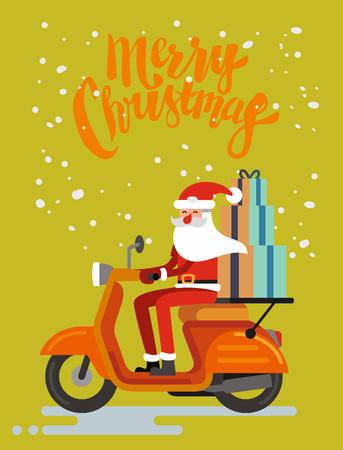 オレンジ色の背景にサンタ クロース乗馬スクーター。ベクトル