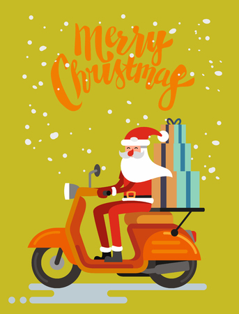 Santa Claus riding scooter on orange background. Vector Иллюстрация