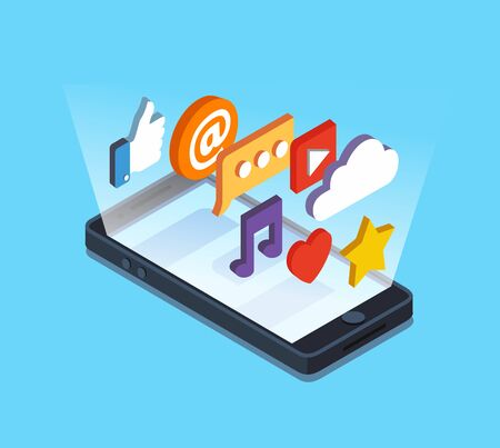 smartphone icon: Isometric touch smart-phonewith apps. Vector illustration in flat stile