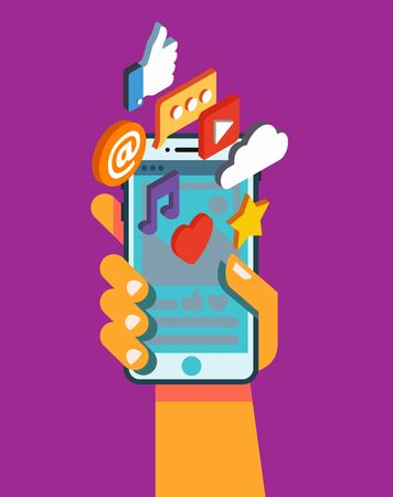 Hand hold smartphone with mobile applications. Vector illustration Illustration