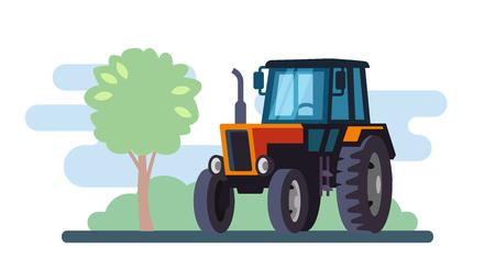 Tracteur rouge sur le paysage au design plat. Vecteur