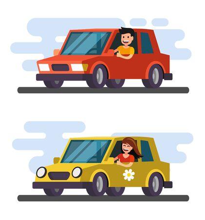 Man and girl driving car. Vector flat design cartoon.