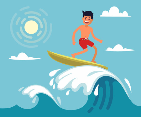 Surfer riding the wave. Vector illustration in flat stile