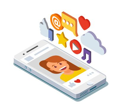 smartphone icon: Social media profile page isometric. Flat vector illustration