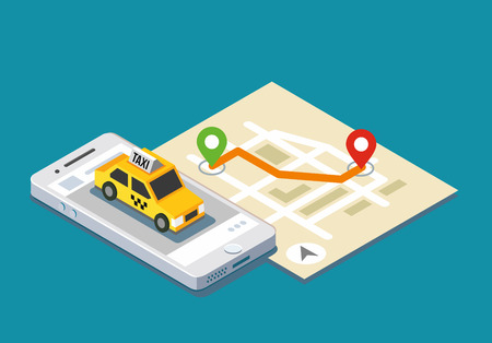 Isometric taxi location and map. Mobile app and geo tracking. Illustration
