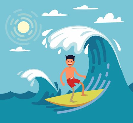 Man surfing on wave. Vector illustartion on flat stile
