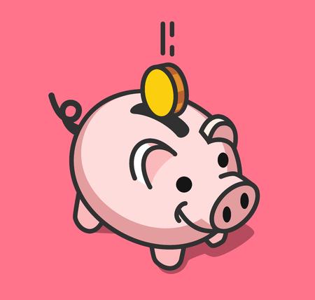 Spaarvarken met munt vectorillustratie