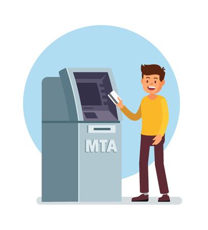 Człowiek za pomocą bankomatu.
