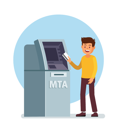 Man using ATM machine. Ilustracja