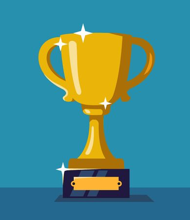 Trophy cup vector illustartion in Flat style. Illustration