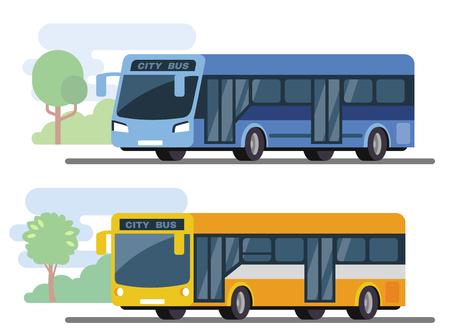 市公共バス。トランスポートのフラット スタイル コンセプト