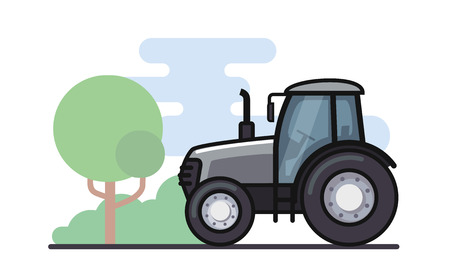 Vector illustration of a tractor in a flat style
