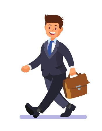 Male entrepreneur walking happy with briefcase. Illustration