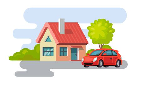 fasade: House in a village property with car icon. Illustration