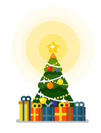 Christmas tree with gift boxes icon.