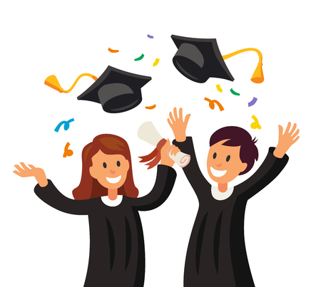 Girl and boy throwing their graduation hats icon. Illustration