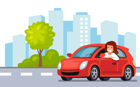 Woman driving a red car icon.