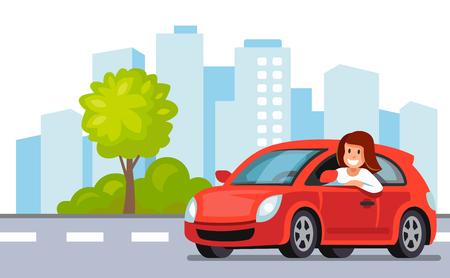 Vrouw die een rood autopictogram drijft. Stock Illustratie