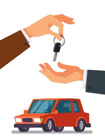 Hand giving car keys to the buyer icon. Illustration