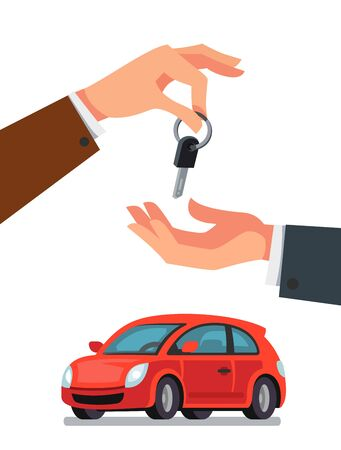 lease: Dealer giving keys to buyer icon.