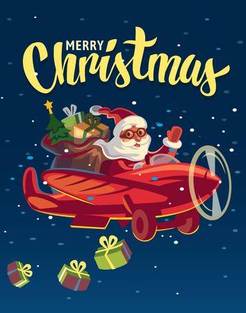 Bannière de Noël joyeux avec le père Noël. Vecteurs