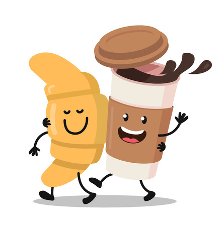 Funny cartoon characters coffee and croissant. Vector flat design. Vettoriali