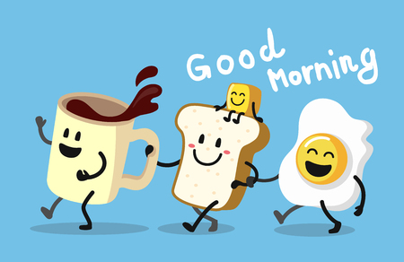 Fun morning breakfast. Cute coffee, toast and egg. Vector illustration.