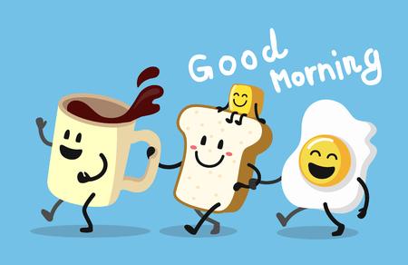 Fun morning breakfast. Cute coffee, toast and egg. Vector illustration.