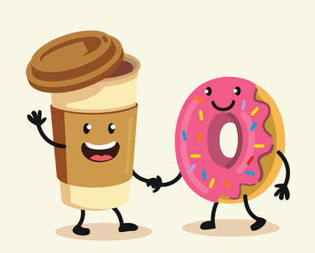 Funny cartoon characters coffee and donut. Vector flat design.