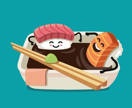uni: Sushi fun character in bath sauce. Vector flat illustration
