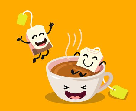 Leuke beeldverhaalkop thee met gelukkige theezakjes op gele achtergrond. Platte vectorillustratie