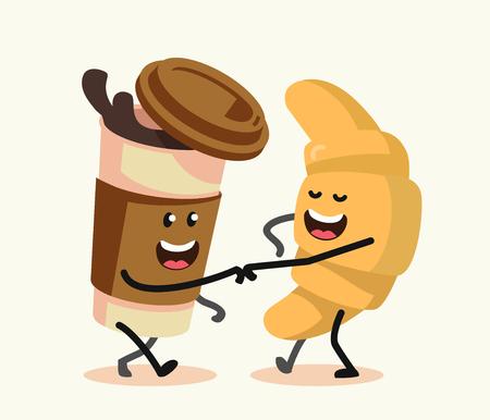 Divertidos personajes de dibujos animados de café y un croissant. Vector diseño plano.