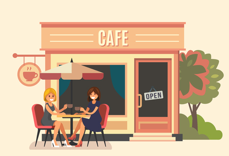 Summer cafe and two girl vector illustration.