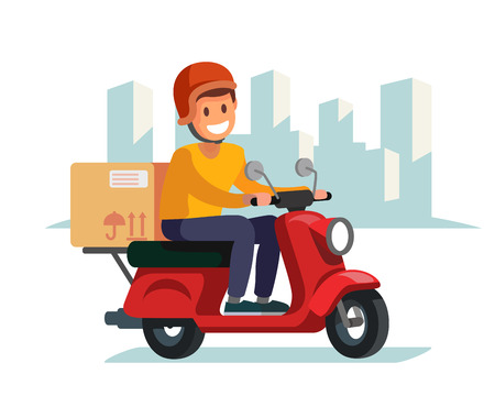 delivery driver: Delivery man riding red motor bike.