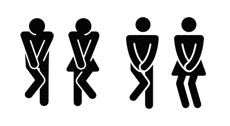 Womens and mens toilet icon sign. Illustration