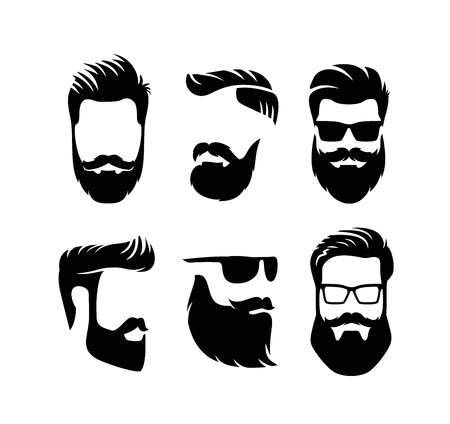 Set bearded men faces hipsters with haircuts.