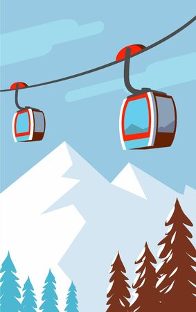 Winter mountains, cable car, ski lift.