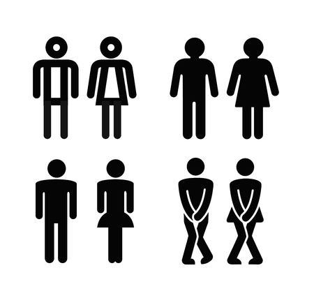 Lady and a man toilet sign. Vector silhouette set Vectores