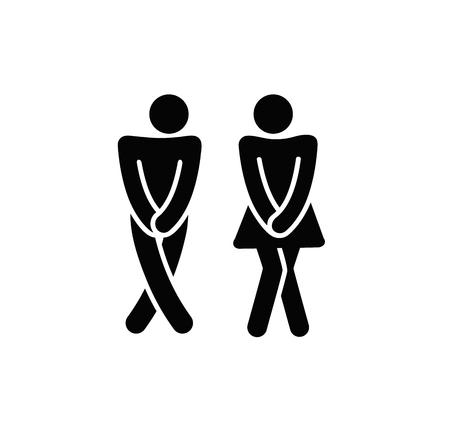 Symboles de toilettes drôles de toilettes. Silhouette noire de vecteur