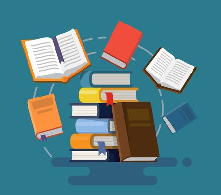 Concept of graduation. Books. Illustration