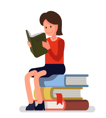 Girl love to read books. Vector flat Illustration