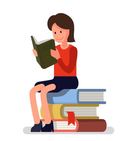 Meisje houdt van boeken lezen. Vector plat