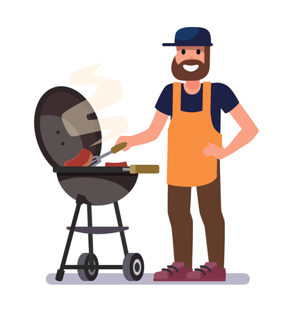 Man preparing barbecue. Vector flat style illustration. Illustration