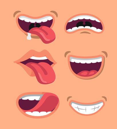 Cute man and woman mouth set. Flat vector style Illustration