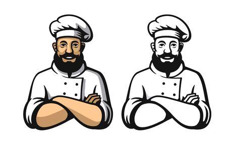 Smiling And Happy Chef. Black And Color, Vector Illustration. Клипарты, векторы, и Набор Иллюстраций Без Оплаты Отчислений. Image 91033185.