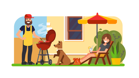 Couple having a barbecue on the backyard. Illustration