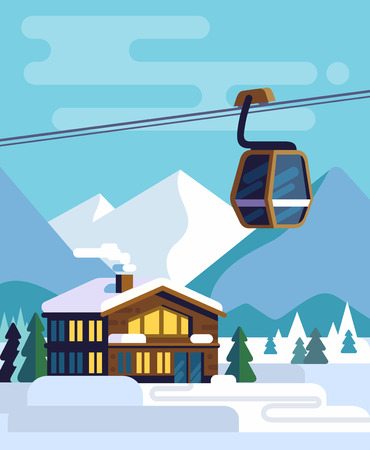 Resort house with a ski lift.