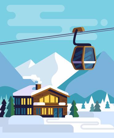 Resorthuis met een skilift. Stockfoto - 91038846